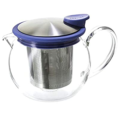 FORLIFE Bola Glass Teapot with Basket Infuser, 15-Ounce/444ml, Marine
