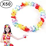 MultiWare 50 Pcs Collier Guirlande Couronne De Fleurs Collier Coloré Hawaienne Necklace pour Beach Thème Party Anniversaire