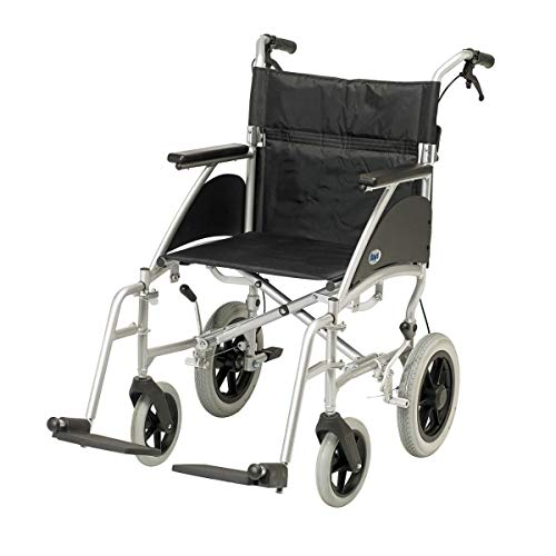 Days Swift Attendant Propelled Wheelchair, 46cm, Cool Silver, Lightweight Mobility Device for Elderly, Handicapped, and Disabled Users, Portable Wheelchair for Caretaker Convenience