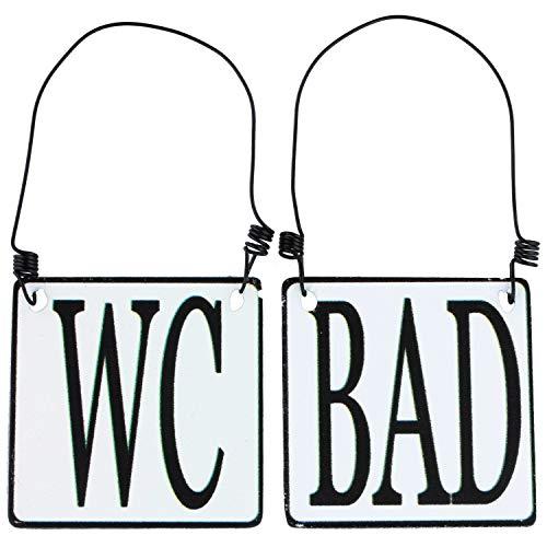 MACOSA SA8177 2er Set WC & Bad Tür-Schild Emaille-Optik Schwarz Weiß 8 x 8 cm Landhaus Metallschild Hinweisschild Draht-Aufhängung Deko-Accessoire