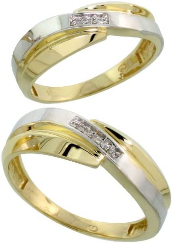 10k White Direct sale of manufacturer Gold Special sale item Diamond 2 Piece Wedding Hers Ring 7mm His 6 Set
