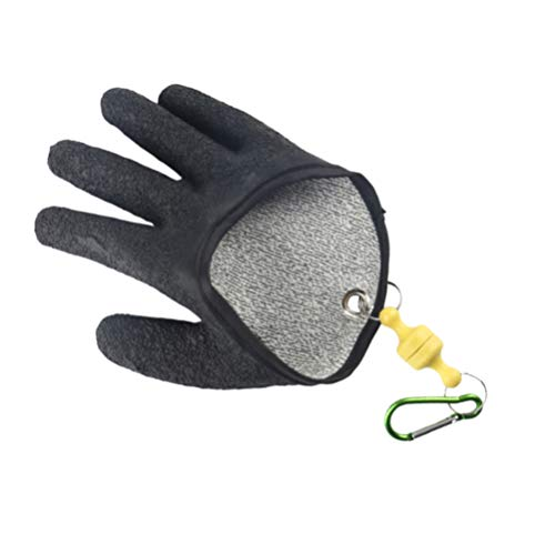 BESPORTBLE Angelhandschuhe Fischhandschuhe rutschfeste wasserdichte Schnittfeste Jagd Angeln Handschuhe mit Haken für Fischen Fisherman Fingerschutz Handschutz(Rechte Hand)