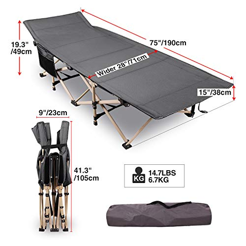 """REDCAMP Folding Camping Cots for Adults Heavy Duty, 28"""" Wide Sturdy Portable Sleeping Cot for Camp Office Use, Gray"""