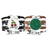 Bestchong Green Limits Mathematical Formulas pulsera correa de mano cuerda de cuero cereza amor pulsera doble juego