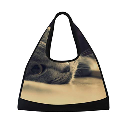 DragonSwordlinsu Coosun graue Katzentasche mit Schulterriemen, handliche Sport-Turnbeutel, Tennis-, Badminton-Schläger-Tasche für Damen und Herren