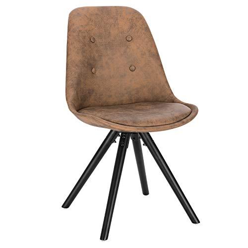 WOLTU 1 X Chaise de Salle à Manger en Tissu Scientifique BH268dbr-1 Chaise de Salon Chaise de Cuisine Structure en Bois Massif Aspect Cuir Antique,Brun Foncé