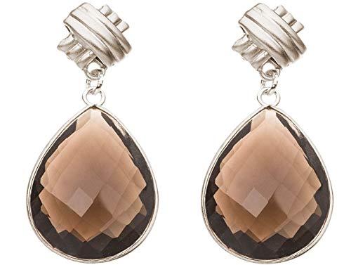 Gemshine Damen Ohrringe Rauchquarz Edelstein Tropfen. 925 Silber oder hochwertig vergoldete Ohrhänger. Nachhaltiger, qualitätsvoller Schmuck Made in Spain, Metall Farbe:Silber