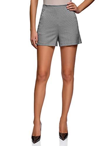 oodji Ultra Damen A-Linie-Shorts mit Seitlichem Reißverschluss, Grau, Herstellergröße DE 34 / EU 36 / XS