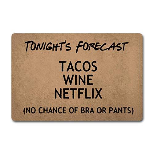 LINFENG Fußmatte Eingang Bodenmatte Fußmatte Tacos Wein Netflix Fußmatte No Bra oder Hosen Tür Teppiche-Fußmatte 23.6x15.7 Zoll Non-Woven Stoff Teppich für The Entrance Way Fußmatte
