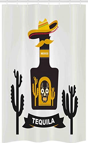 ABAKUHAUS Tequila Douchegordijn, Schedel van de suiker op de fles Hat, voor Douchecabine Stoffen Badkamer Decoratie Set met Ophangringen, 120 x 180 cm, grijs Geel