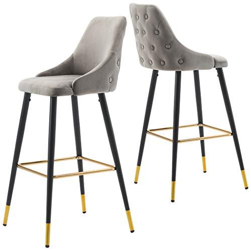 2x Sgabelli da bar tessuto (velluto) quadrato con schienale piedini in metallo selezione colore Duhome 5170G, colore:grigio, materiale:velluto