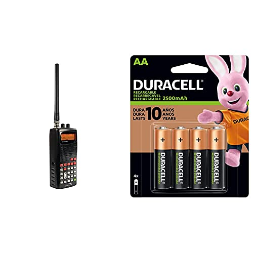 Whistler WS1010 Analog Handheld Scanner (Black) & Duracell - Rechargeable AA Batteries - Long Lasting, All-Purpose Double A Battery for Household and Business - 4 Count