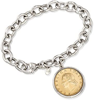Ross Simons Italian Genuine 20 Lira Coin Charm Bracelet in Sterling Silver 7 inches product image