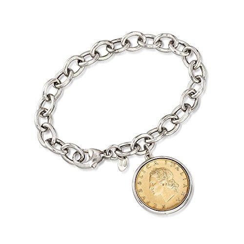 Ross-Simons Italian Genuine 20 Lira Coin Charm Bracelet in Sterling Silver