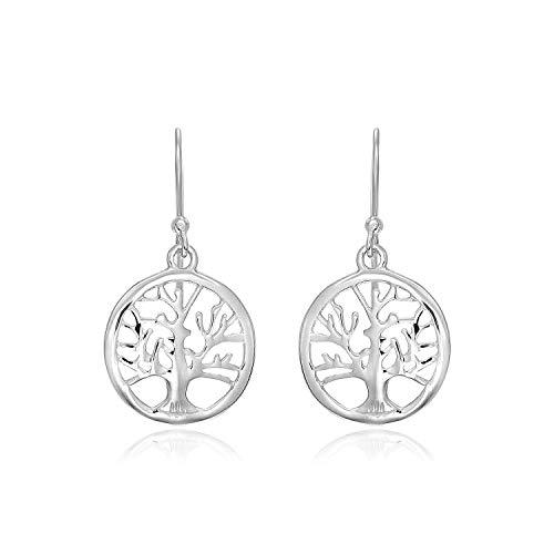 Pendientes redondos de plata de ley con árbol de la vida