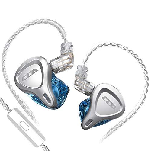 adgbd CCA CSN (1DD + 1BA) Auriculares HiFi Híbridos,con Placa Frontal De Aleación De Zinc,Dual Driver,con Línea De Actualización Plateada,Versión Estándar Y Versión De Micrófono