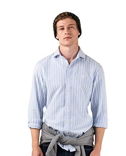 El Ganso Camisa Oxford Esmerilado Azul Raya Ancha