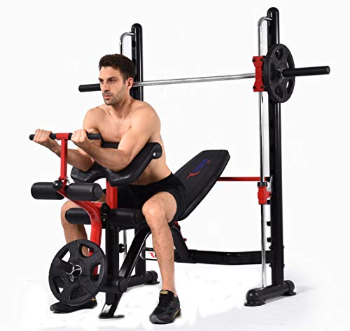 MiM USA Compact Smith Machine and Squat Rack All in One Smith Workout Squat Dip Up Sit Up Home Gym Super Pro Multi Functions Rack