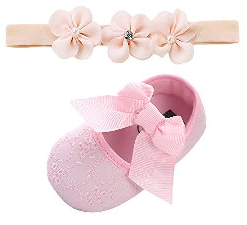 DEMU babyschoenen, doopschoenen, bowknot, kruipschoenen, zacht, met haarband, hoofdband, doop, cadeausets