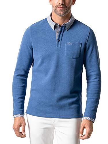 Walbusch Herren Hemd Pullover 2 in 1 einfarbig Mittelblau 58-60
