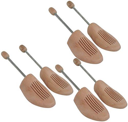 Delfa 3 Paar Schuhspanner Schuhformer Schuhstrecker Birkenholz mit Metall-Spiralfeder Gr. 44/45