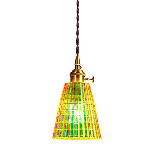XODZASG Pendelleuchte,Vintage Hängeleuchte,Glas Hängelampe,für Küche Esszimmer Wohnzimmer,Mit E27 LED Birne (Horn gestreift)