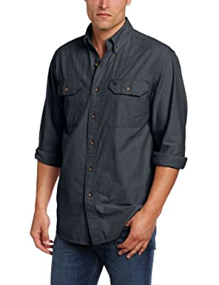 Carhartt Mens Fort Lightweight Button Front Relaxed Fit, Black Chambray, Med