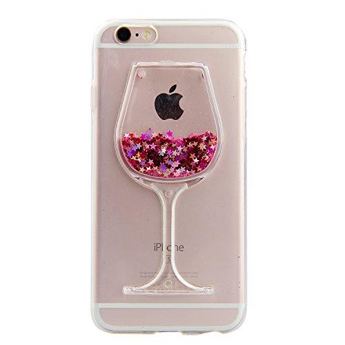 Funda protectora para iPhone 7 con diseño de copa de vino y detalles de purpurina, rosa, Apple iPhone 7 Plus/8 Plus 5.5