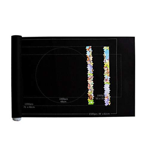MoreChioce Puzzlematte,Tragbare Puzzles Matte Puzzle-Decken Filzmatte Aufbewahrungsdecken Puzzle Rolle Matte Spielmatte für bis zu 1500 Teile,Schwarz