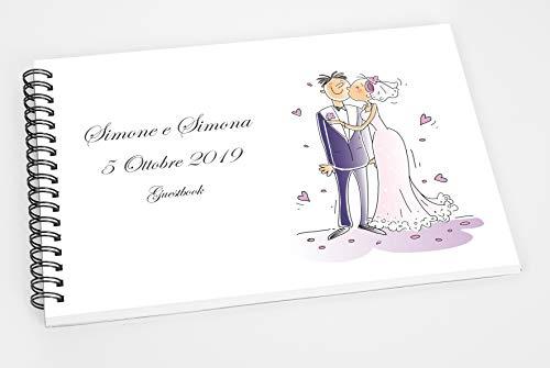 Guestbook matrimonio - libro dediche e auguri invitati personalizzato sposini cartone animato amore love