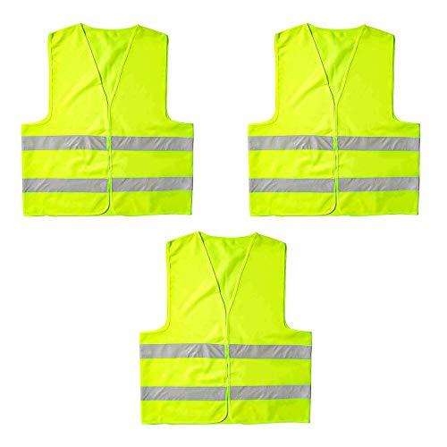 ITME 3 Stück Auto Warnweste, Warnwesten 360 Grad, Auto-reflektierende Weste, Sicherheitsweste und reflektierenden Streifen Weste, zum Laufen oder Radfahren,Auto (fluoreszierendes Gelb)