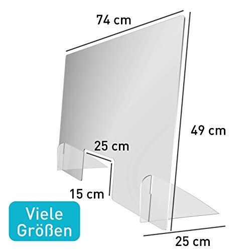 Spuckschutz Thekenaufsatz (49 cm hoch) - Kasse, Tresen und Empfang - Niesschutz & Hustenschutz mit Durchreiche - Kunststoffglas - Lebensmittelecht - (49 x 74 cm)