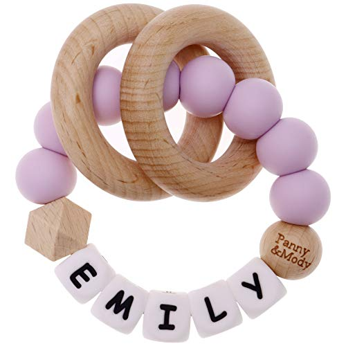 Personalised made-to-order baby wooden teether ring rattle in lovely gift box.