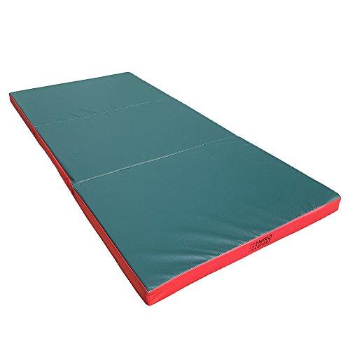 NiroSport Turnmatte 210 x 100 x 8 cm Gymnastikmatte Fitnessmatte Sportmatte Trainingsmatte Weichbodenmatte wasserdicht klappbar (Grün/Rot)