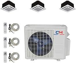 COOPER AND HUNTER Tri 3 Zone Ductless Mini Split Ceiling Cassette Air Conditioner Heat Pump 9000 9000 12000