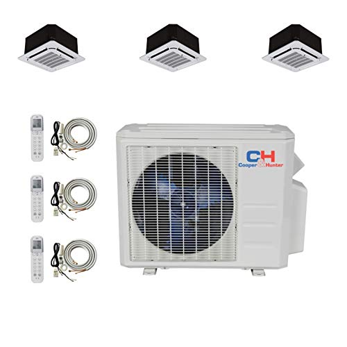 COOPER AND HUNTER Tri 3 Zone Ductless Mini Split Ceiling Cassette Air Conditioner Heat Pump 9000 9000 9000