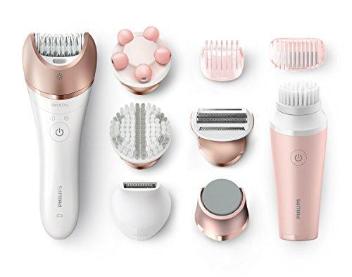 Philips Satinelle Prestige BRP586/00 - Depiladora para mujer, inalámbrica, 8 accesorios, cepillo facial, color rosa y blanco