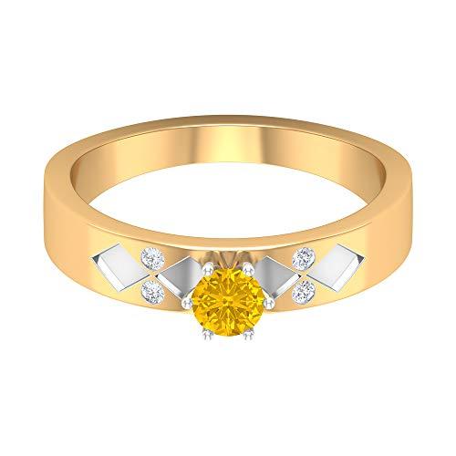 Rosec Jewels 14 quilates oro blanco redonda round-brilliant-shape H-I Yellow Diamond zafiro sintético amarillo
