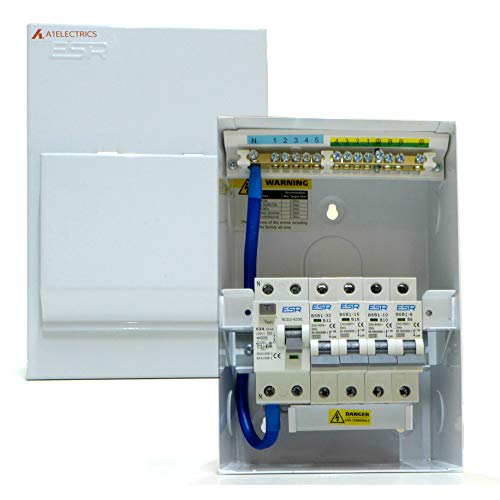 Metal Consumer Unit 4 Way - 63A 30mA RCD Trip Switch - 6A, 10A, 16A, 32A Circuit Breakers