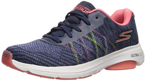 Skechers Women's GO Run VIZ TECH Shoe, Navy/Multi, 5 M US