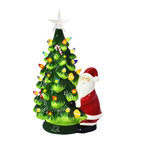 NaTursou 12 Inch Prelit Christmas Mini Green Ceramic Christmas Tree with Santa Claus, Christmas Tree with Lights Vintage Tabletop Christmas Decorations Retro Winter Tree Shiny Holidays Décor(Grren)