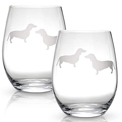 Dachshund Stemless Wine Glasses (Set of 2) | Unique Gift for Dog Lovers | Hand Etched with Breed Name on Bottom