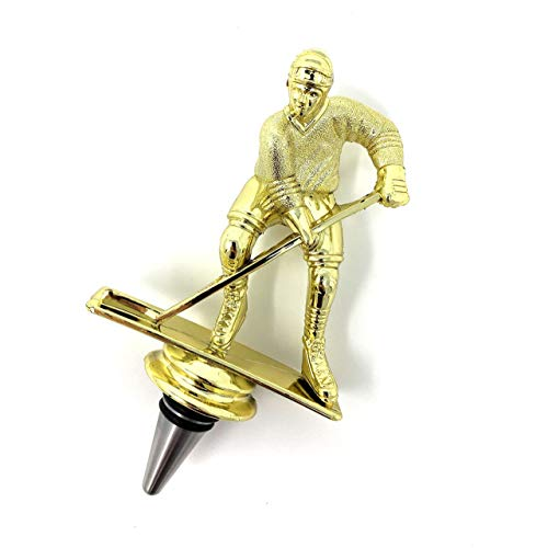 Hockey Wine Bottle Stopper - Handmade with Stainless Steel Base and Repurposed Trophy Top
