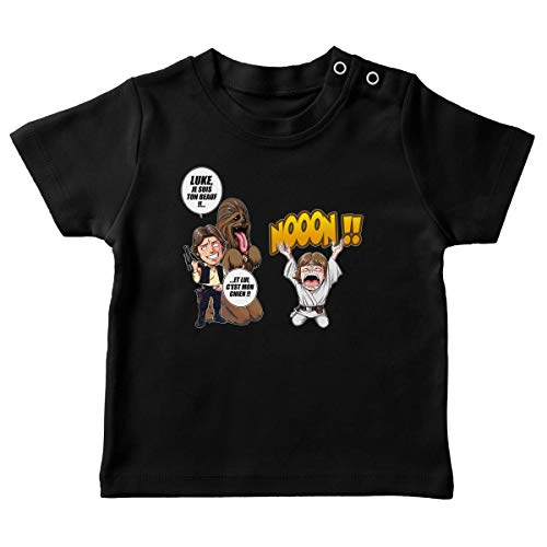 T-Shirt bébé Noir Star Wars parodique Luke Skywalker, Chewbacca et Han Solo : Luke Life Episode III : Un beauf carrément beauf : (Parodie Star Wars)