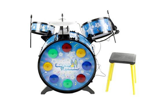 Bubble-Store Kinderschlagzeug Drum-Set mit Kopfhörer inkl. Mikro, Licht + Ton-Funktion, mit Basstrommel, 2 Drums, Becken, 2 Drum-Sticks und Hocker