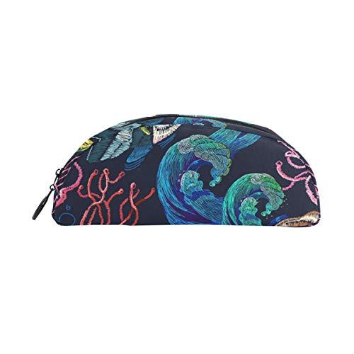 Halbrunde Federmäppchen Stifteetui, bunt, Meeresfische, Büro, Multifunktionstasche mit Reißverschluss für Studenten, Männer, Frauen