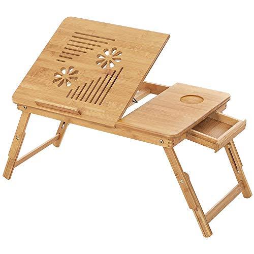 Blingstars Bamboe Laptop Bureau, Opvouwbaar Bed Tafel, Laptop Tafel, In hoogte Verstelbare Slaapbank, Met 5 Kantelbare Hoeken, Luchtgaten, Kleine Lade, 55 X 35 X 29 Cm