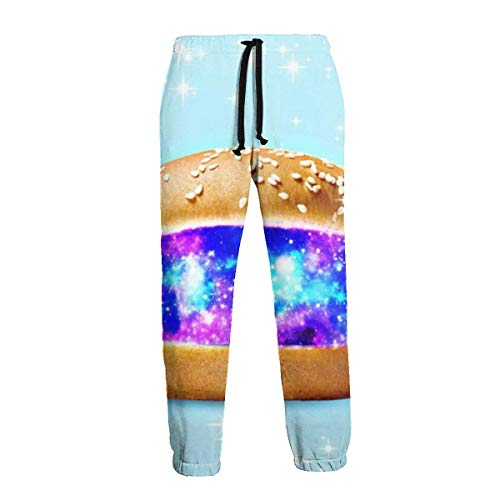 QUEMIN Galaxy Hamburger Stars Pantalones Deportivos para Hombre Cómodos Pantalones Deportivos con Bolsillos XL