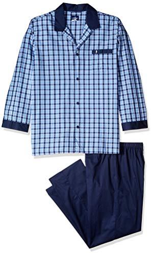 Jockey Herren Yarn-Dye Woven Long Sleeve Pajama Pyjama Set, Blau/Weiß kariert, Medium Hoch
