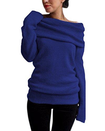 Style Dome Donna Camicette Maglie Manica Lunga Eleganti Maglieria Maglioni Tinta Unita Maglietta Moda Casual Chic Tops Senza Spalline Sexy Autunno Invernali Blu 2XL
